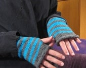 Striped Wristwarmers, gray and turquoise