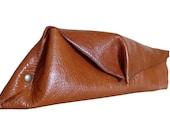 rivet leather clutch - pumpkin