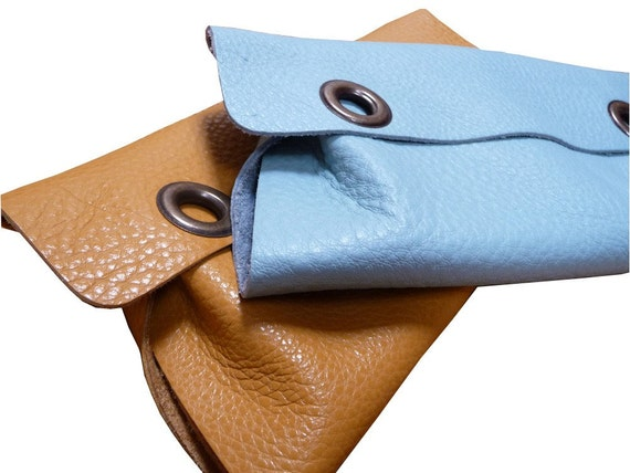 grommet leather clutch