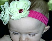 Ella and Lily Double green Flower headband hairband PINK Elastic Jem Center All ages Canadian seller Christmas Gift