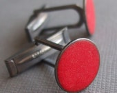 unshiny red (cuff links) sterling silver and glass enamel