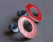 circles post earrings in cardinal red sterling silver