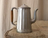 Aluminum coffee pot vintage French country kitchen decor