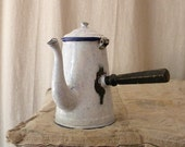 French enamel pot for hot chocolate vintage French country decor