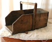 SALE Vintage storage basket French country wood decor