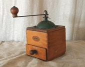 Green wood vintage French coffee mill