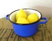 Vintage French enamel bowl, blue