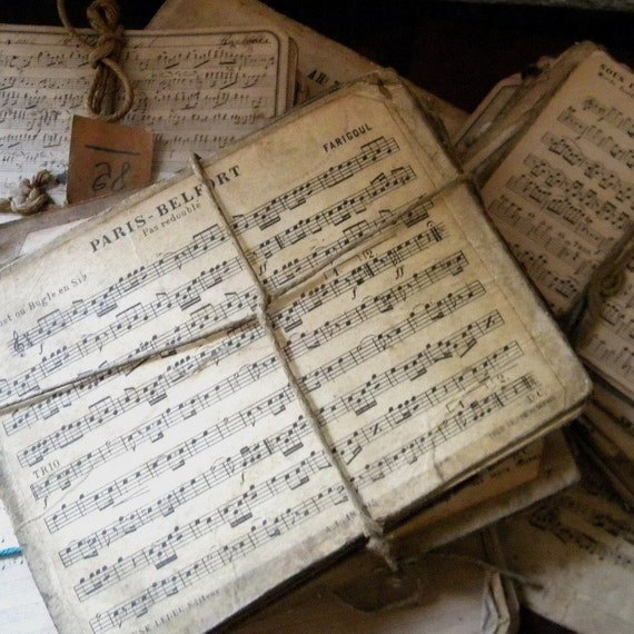 Antique French music sheets, lot of 5 medium pieces