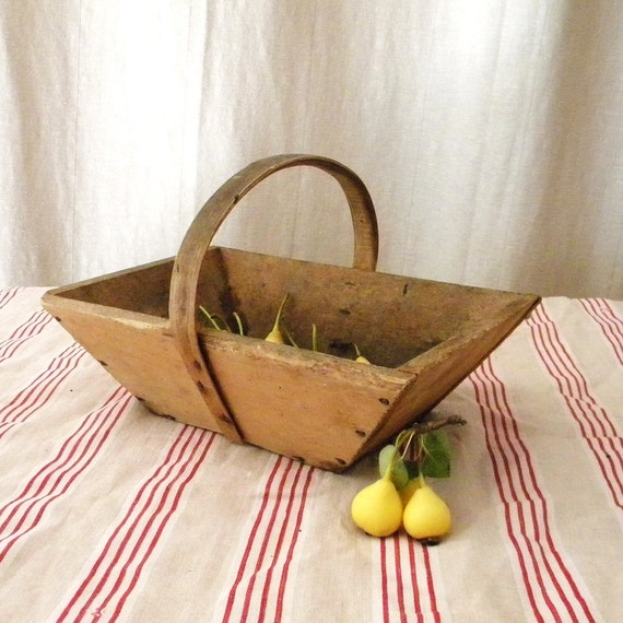 Vintage basket French country wooden home decor