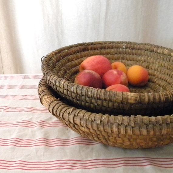 RESERVED Three vintage hand woven French country bowls