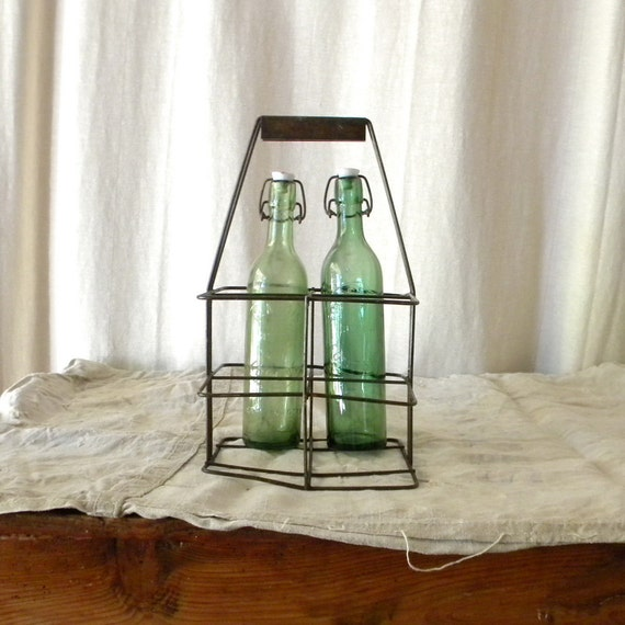 Wire basket vintage French country bottle crate