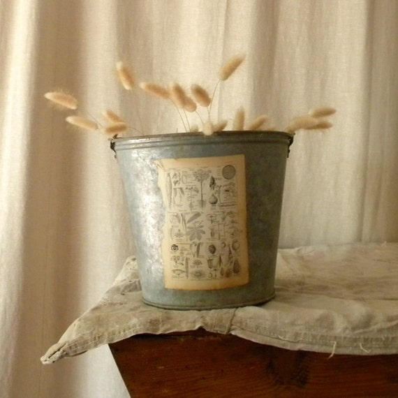 Recycled zinc pail french country decor by lapomme on etsy for Decoration zinc