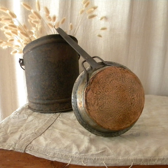 Vintage copper pan, French country decor