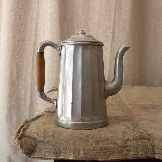 French Country Kitchen Decor Sale: Aluminum Coffee Pot Vintage French Country Kitchen Decor