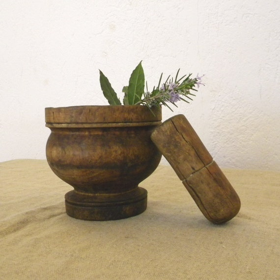 RESERVED Vintage French country decor wooden mortar and pestle