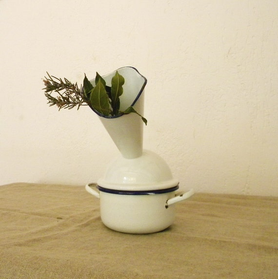 Vintage  white enamel steam inhaler, country cottage