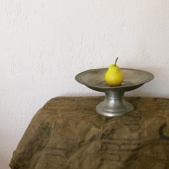 French vintage footed fruit bowl in pewter