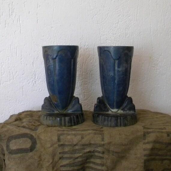 RESERVED French vintage blue enamel vases, Art Deco design