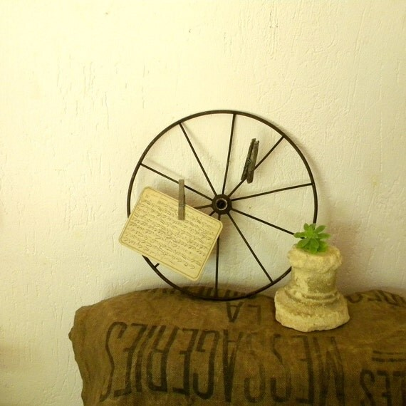 Rustic vintage wheel French country decor