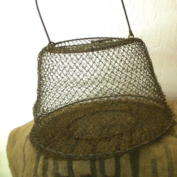 Vintage French country fisherman's wire basket, rustic decor