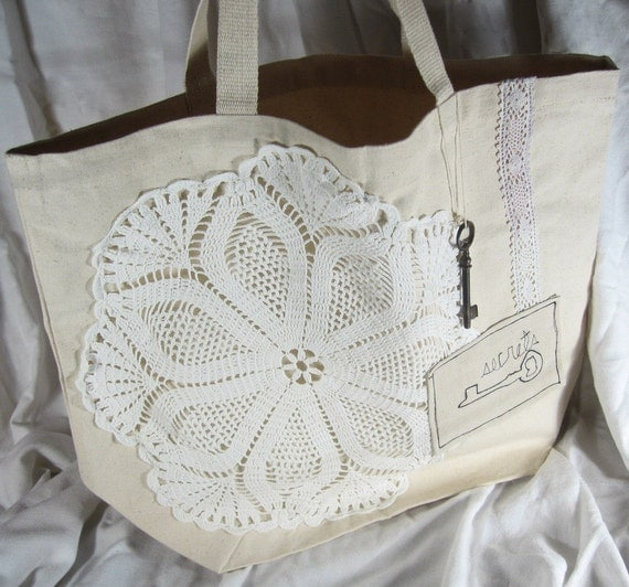 SALE Secrets. recycled cotton tote bag