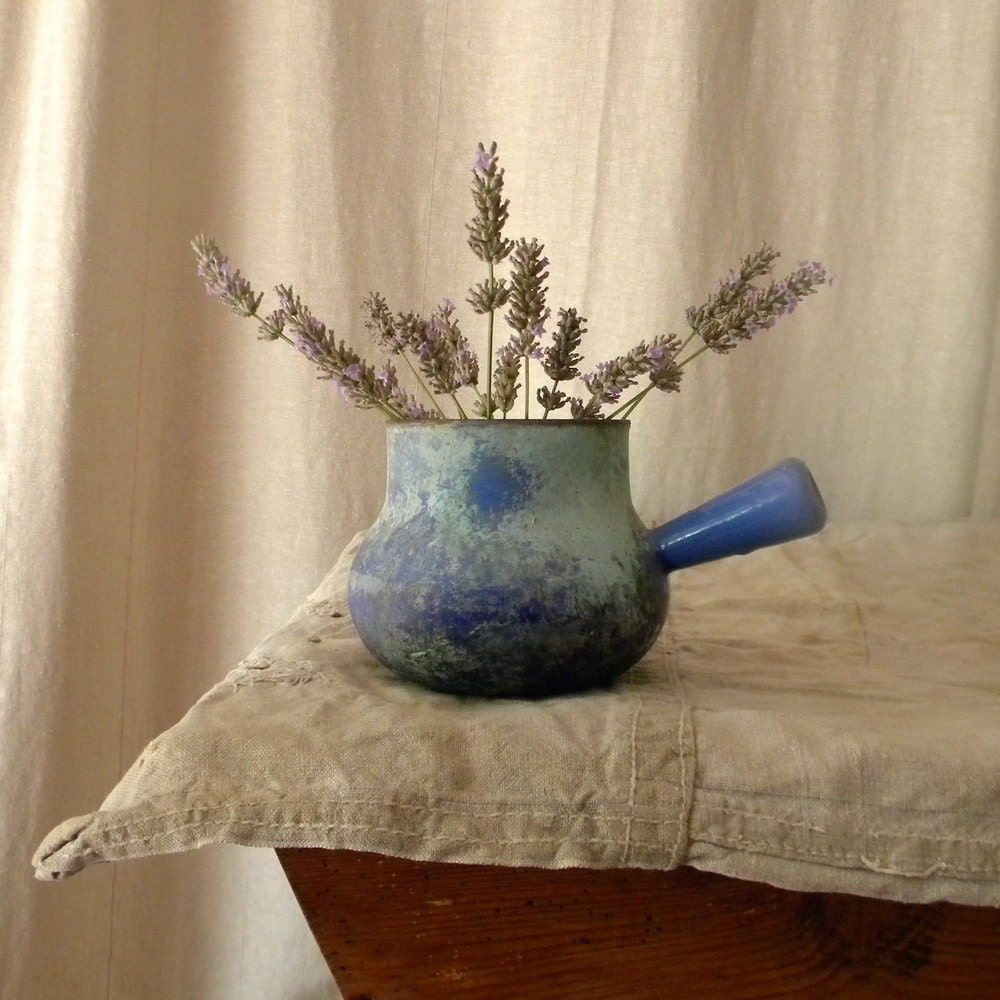 Found In Ithaca Vintage Green Enamel Shop Light: Vintage Light Blue Cast-iron Enamelware Pot