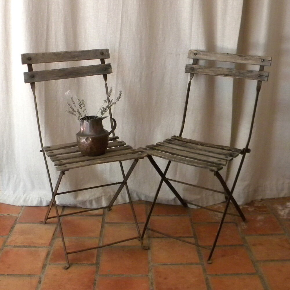 French bistro garden chairs folding wood vintage decor