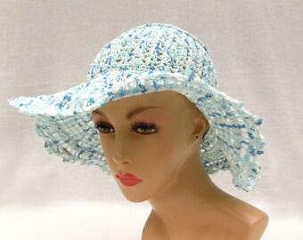 Crochet hat... Summer hat... Sun hat.... Fun hat...Blue hat... Wide brim hat...Traveller's hat...Unique hat...Dressy hat...