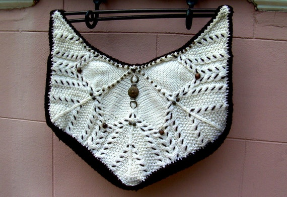 White hand knitted hand bag purse tote