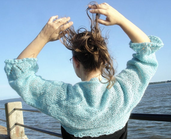 Hand knitted shrug sweater by Iryna in teal blue mohair wool
