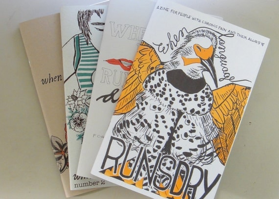 Chronic Pain Zine Pack - When Language Runs Dry issues 1, 2, 3, and 4