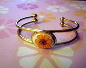 Flower Power Orange Retro Cuff Bracelet