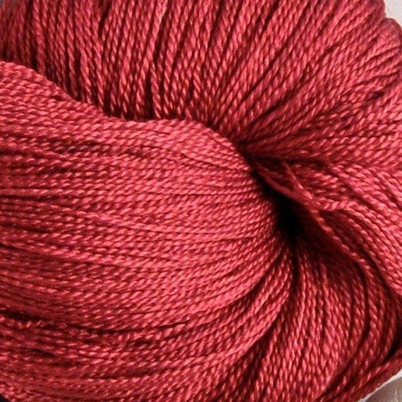 Silk Hand Dyed Knitting Yarn - Lace Weight - Ruby