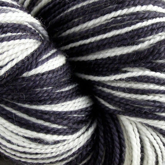 Self-Striping Knitting Yarn Hand Dyed Superwash Merino Wool - Zebra