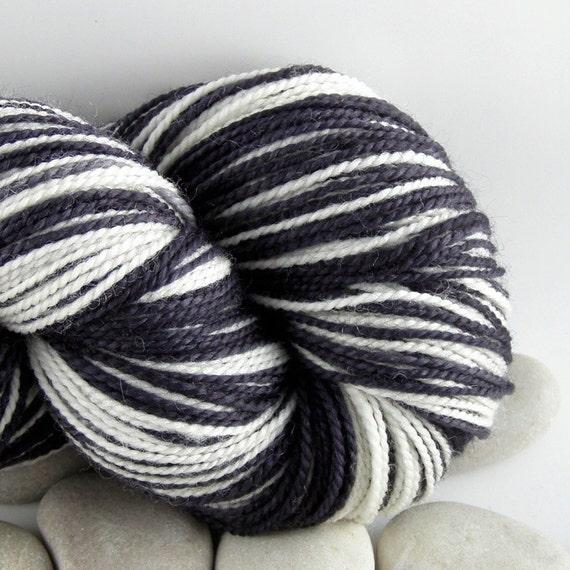 Self Striping Yarn Hand Dyed Merino Wool Self Striping Sock Yarn 430yds - Zebra
