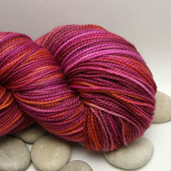 Superwash Merino  Knitting Yarn Hand Dyed - Fingering Weight, Variegated, 385yds - Field Flowers