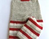 Sock Monkey Hand Knit Overalls-Medium