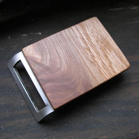 Walnut and Oak Belt Buckle - Stainless Steel back