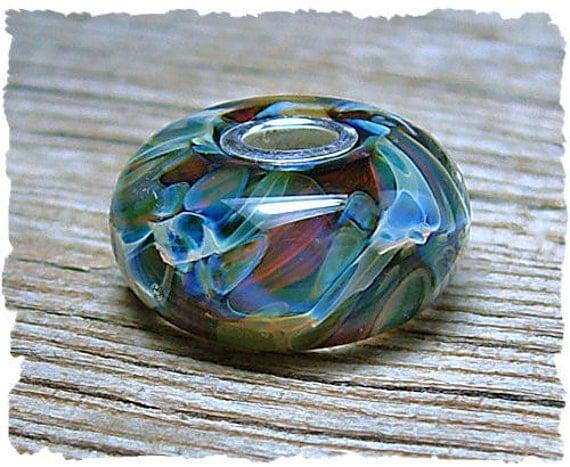 Lampwork Pandora Bead, Lampwork Beads, Glass large hole bead,  Handmade Glass Pandora bead, Tropical Blue, GALAXY by Java bead