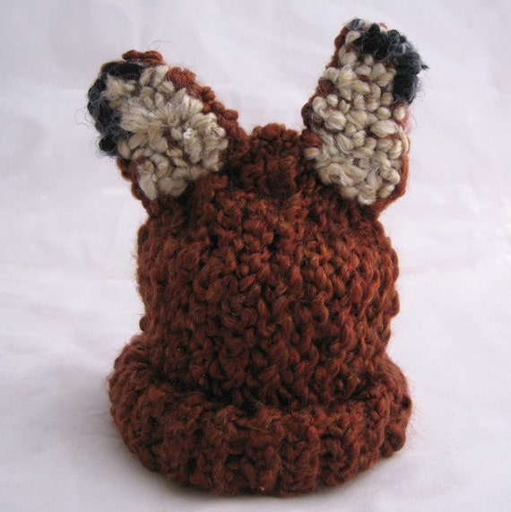 Fox Head Soft Red Fox Eared Baby Infant Toddler Kids Knit Hat