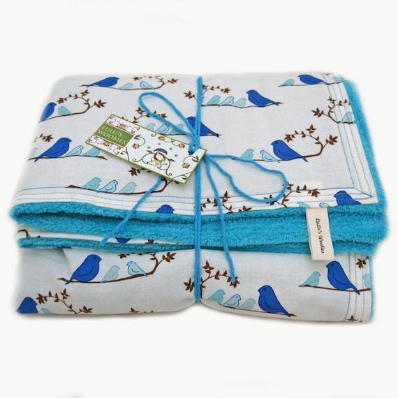 Baby Woobie Blanket Happy Bluebirds Wrenly Blue Bird and Aqua Minky Chenille