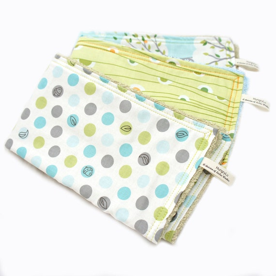Baby Burp Cloths Blue and Grey Polka Dots Trees and Snails Backyard Baby