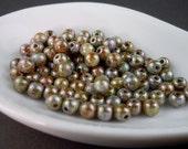 Czech Glass Beads - 4mm Round Opaque Antique Green Luster