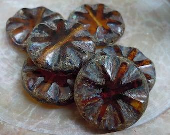 Czech Picasso Beads - Topaz Coin 6 (G - 536)
