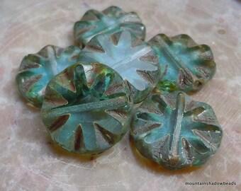 Premium Czech Glass Beads 14mm Coin Light Aqua Picasso 6 pcs (G - 563)