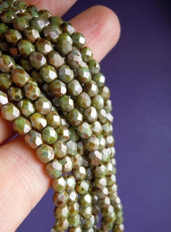 Full Strand 4mm Czech Firepolished Faceted Glass Beads Opaque Antique Green