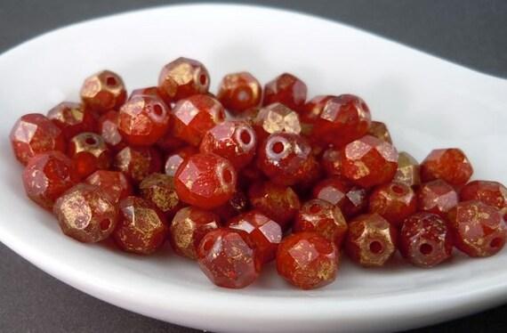 Czech Glass Beads - 6mm Oxblood - Marbled Gold - 25 pcs