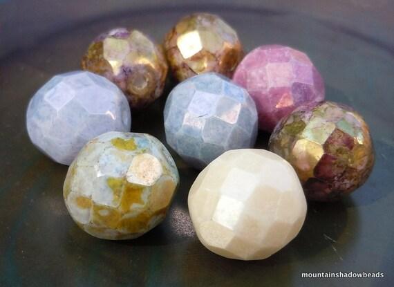 Czech Glass Beads - 12mm Opaque Luster Mix Strand 8