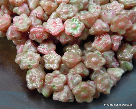 25 Czech Glass Flower Button Beads 7mm Green Picasso Honeysuckle