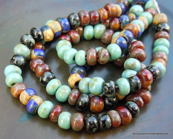 6/o Czech Seed Beads Opaque Southwest Picasso Mix Strand 6/0
